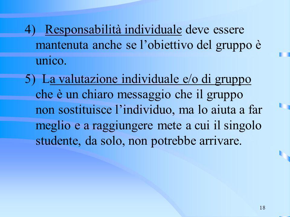 4) Responsabilità individuale deve essere mantenuta anche se l'obiettivo del gruppo è unico.