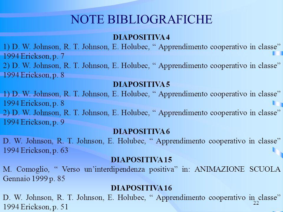 NOTE BIBLIOGRAFICHE DIAPOSITIVA 4