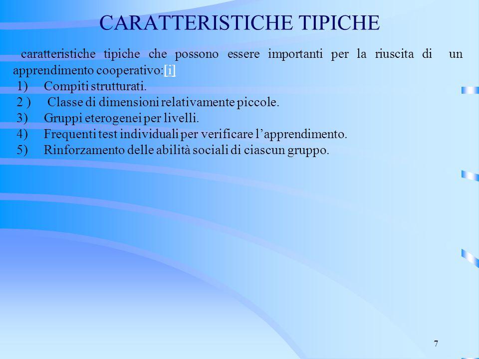 CARATTERISTICHE TIPICHE