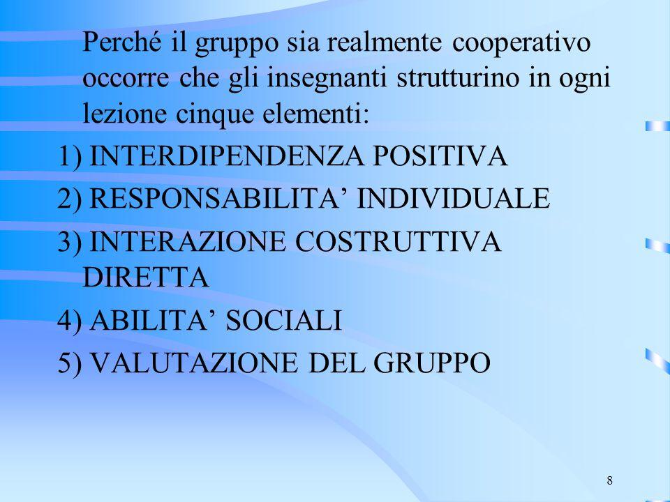 Perché il gruppo sia realmente cooperativo occorre che gli insegnanti strutturino in ogni lezione cinque elementi: