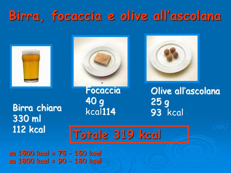 Birra, focaccia e olive all'ascolana