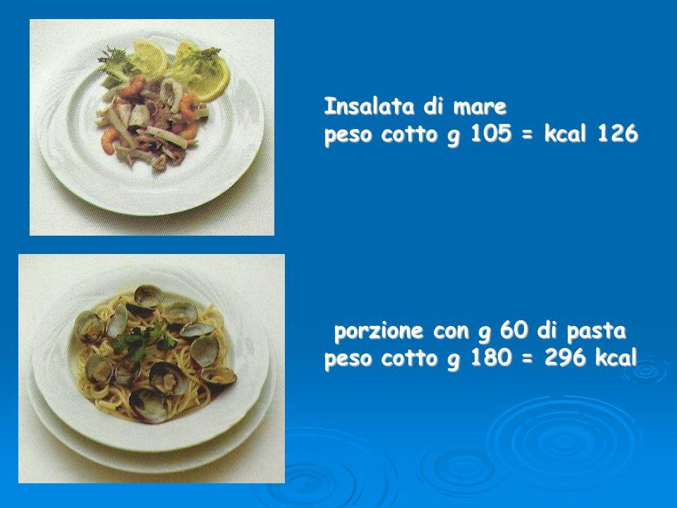 Insalata di mare peso cotto g 105 = kcal 126 porzione con g 60 di pasta peso cotto g 180 = 296 kcal