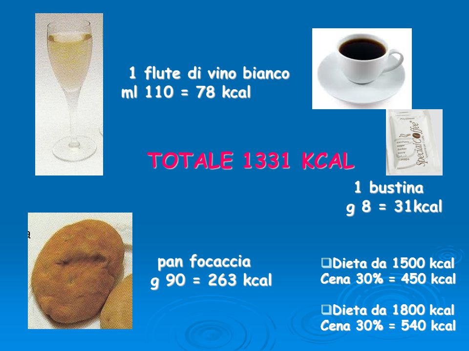 TOTALE 1331 KCAL 1 flute di vino bianco ml 110 = 78 kcal 1 bustina