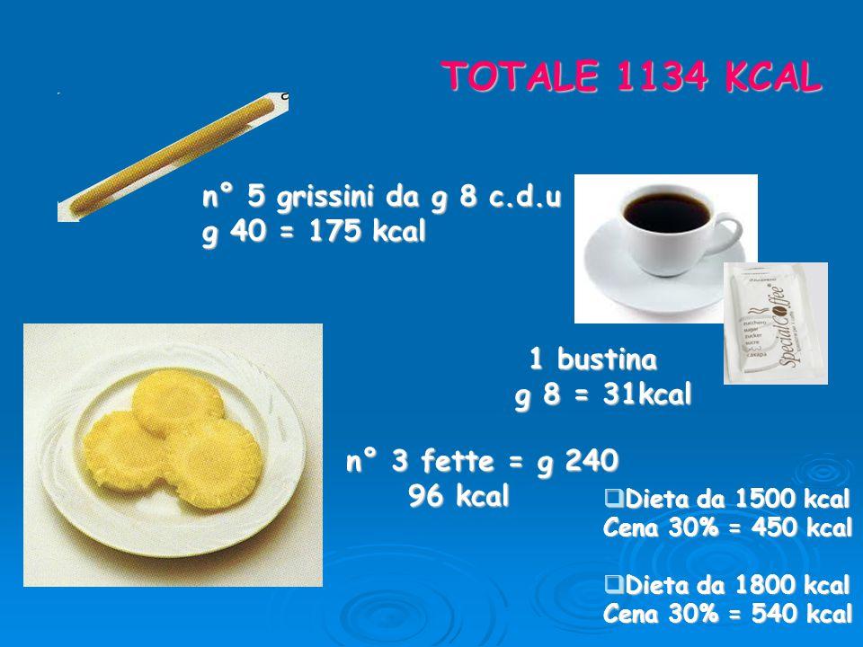 TOTALE 1134 KCAL n° 5 grissini da g 8 c.d.u g 40 = 175 kcal 1 bustina