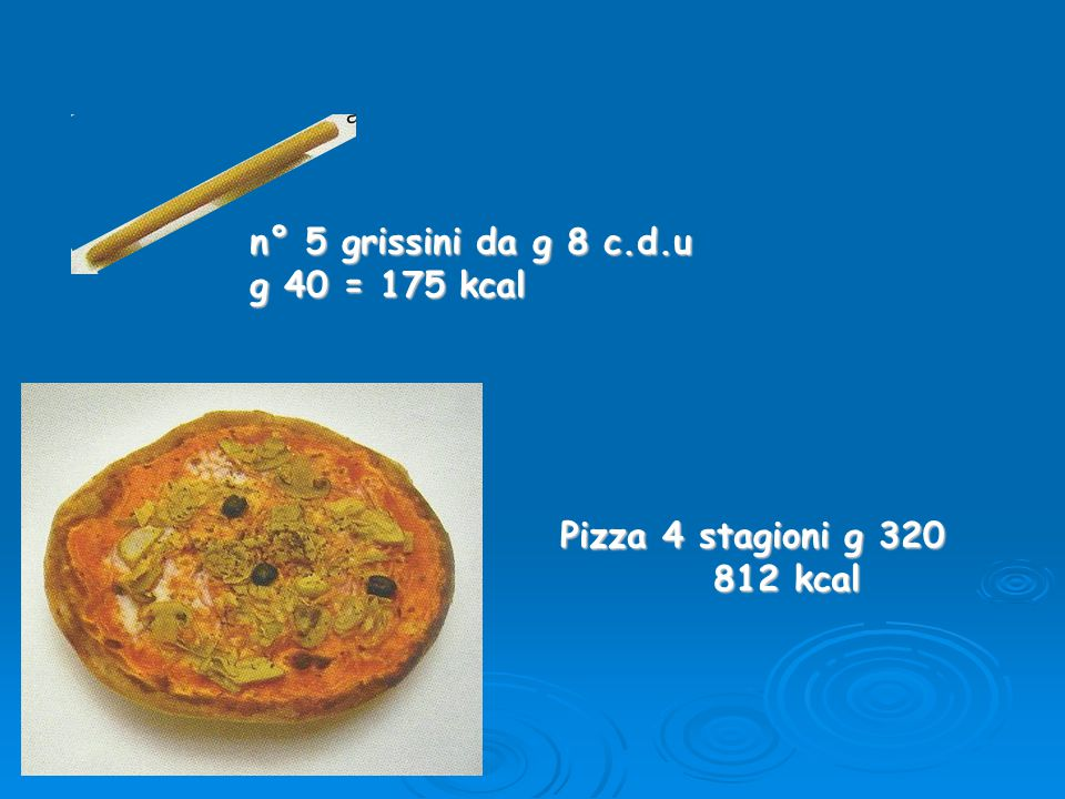 n° 5 grissini da g 8 c.d.u g 40 = 175 kcal Pizza 4 stagioni g 320 812 kcal