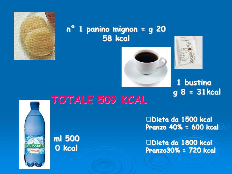 TOTALE 509 KCAL n° 1 panino mignon = g 20 58 kcal 1 bustina