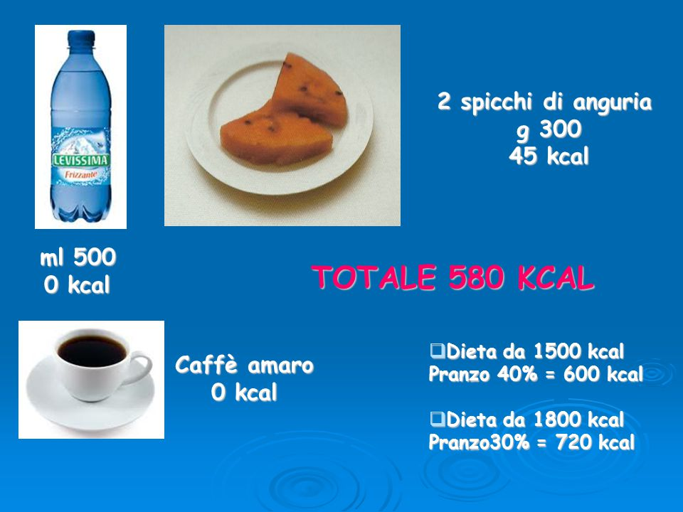 TOTALE 580 KCAL 2 spicchi di anguria g 300 45 kcal ml 500 0 kcal