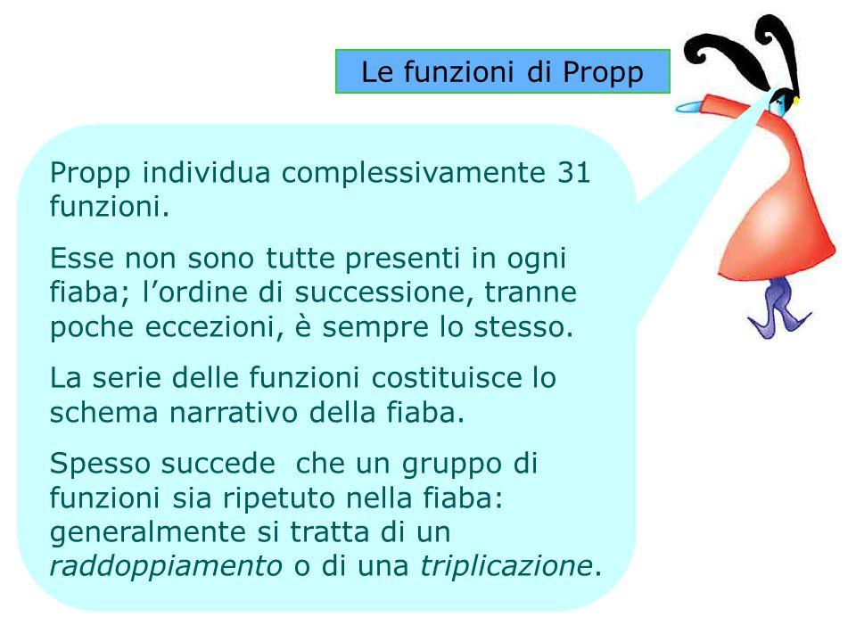 Le funzioni di Propp Propp individua complessivamente 31 funzioni.