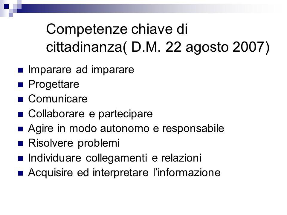 Competenze chiave di cittadinanza( D.M. 22 agosto 2007)