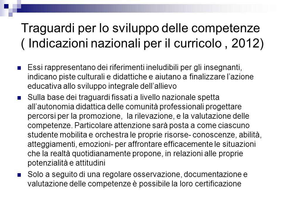 Traguardi per lo sviluppo delle competenze ( Indicazioni nazionali per il curricolo , 2012)