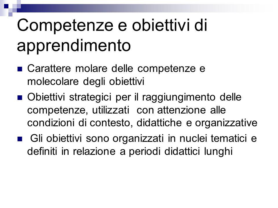 Competenze e obiettivi di apprendimento