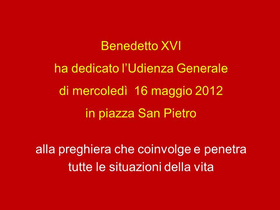 ha dedicato l'Udienza Generale di mercoledì 16 maggio 2012
