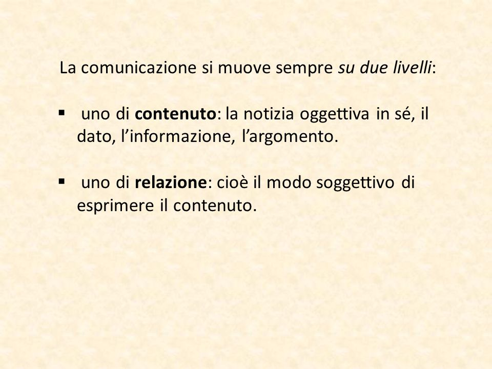La comunicazione si muove sempre su due livelli: