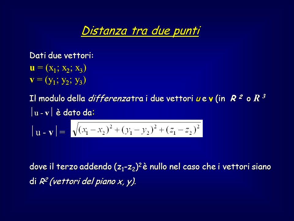 Distanza tra due punti u = (x1; x2; x3) v = (y1; y2; y3) u - v=