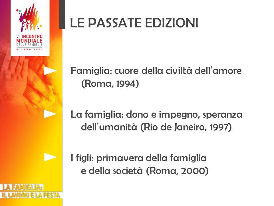 LE PASSATE EDIZIONI Famiglia: cuore della civiltà dell'amore (Roma, 1994) La famiglia: dono e impegno, speranza dell'umanità (Rio de Janeiro, 1997)