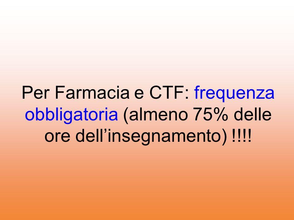Per Farmacia e CTF: frequenza obbligatoria (almeno 75% delle ore dell'insegnamento) !!!!