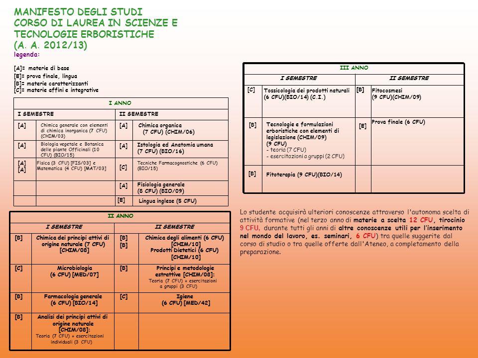 CORSO DI LAUREA IN SCIENZE E TECNOLOGIE ERBORISTICHE (A. A. 2012/13)