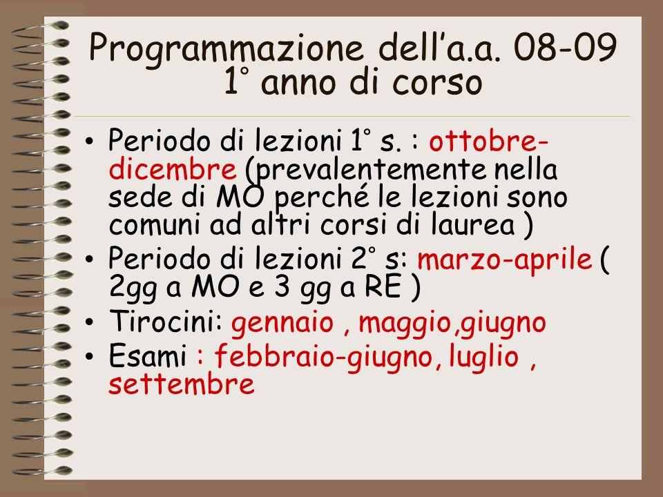 Programmazione dell'a.a. 08-09 1° anno di corso