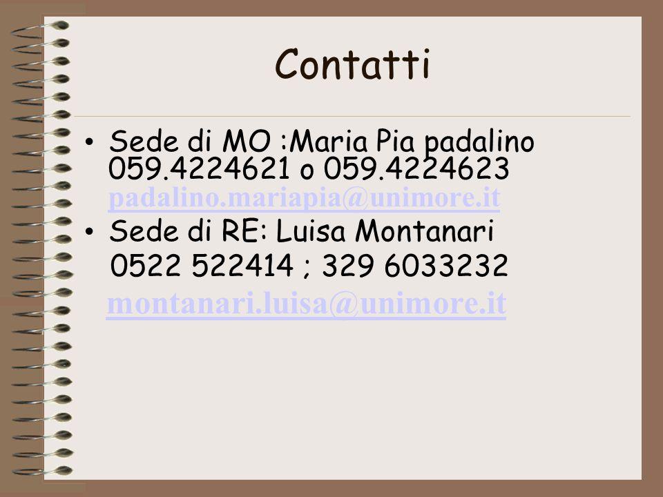 Contatti Sede di MO :Maria Pia padalino 059.4224621 o 059.4224623 padalino.mariapia@unimore.it. Sede di RE: Luisa Montanari.