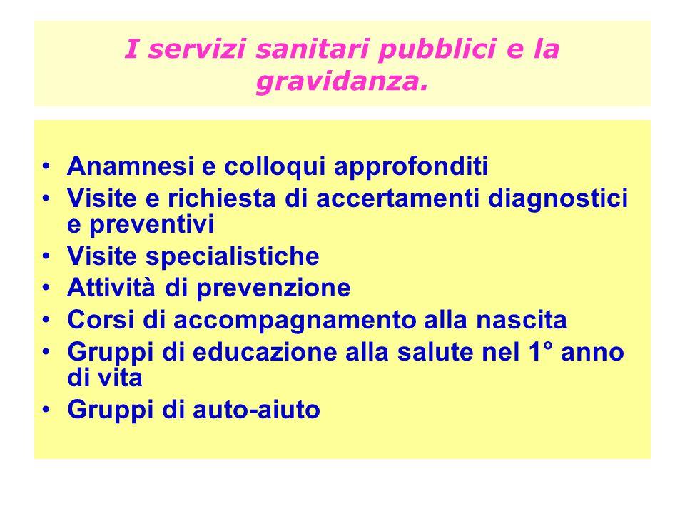 I servizi sanitari pubblici e la gravidanza.