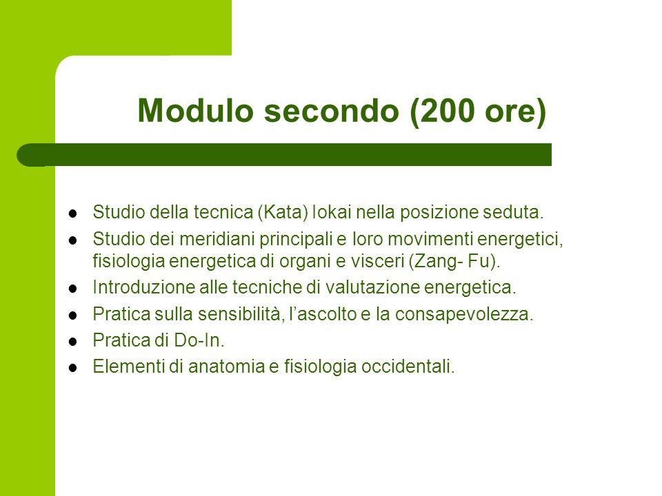 Modulo secondo (200 ore) Studio della tecnica (Kata) Iokai nella posizione seduta.
