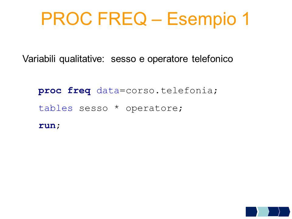 PROC FREQ – Esempio 1 Variabili qualitative: sesso e operatore telefonico. proc freq data=corso.telefonia;