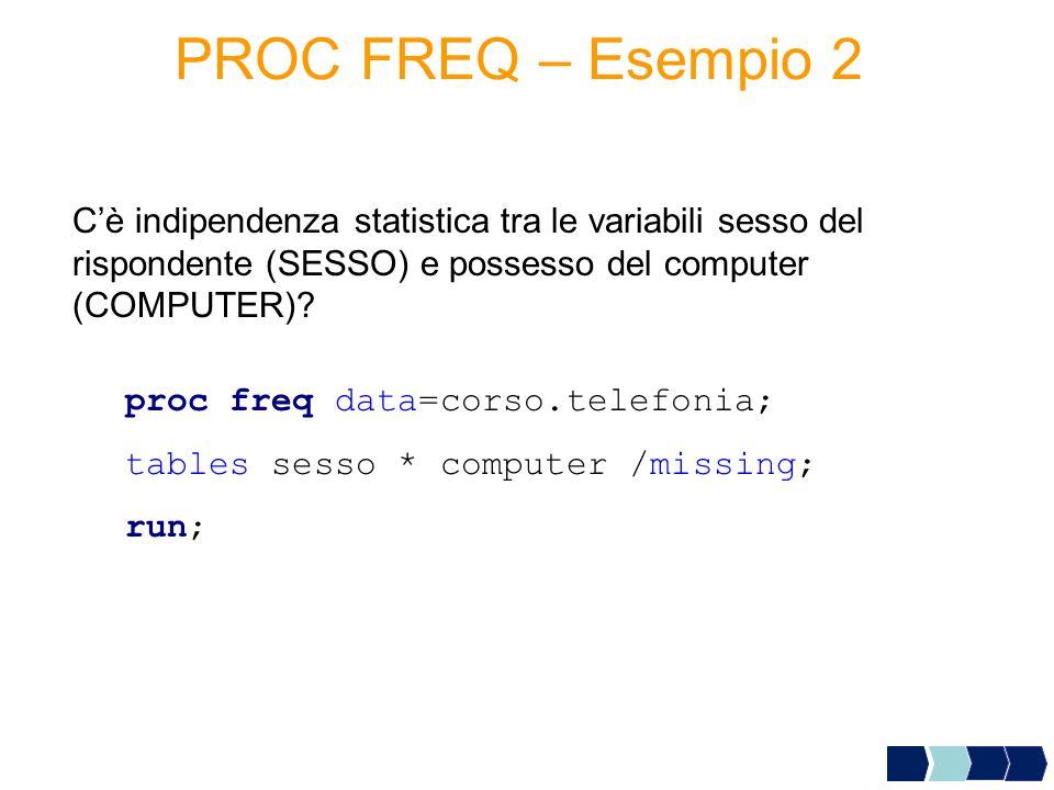 PROC FREQ – Esempio 2 C'è indipendenza statistica tra le variabili sesso del rispondente (SESSO) e possesso del computer (COMPUTER)