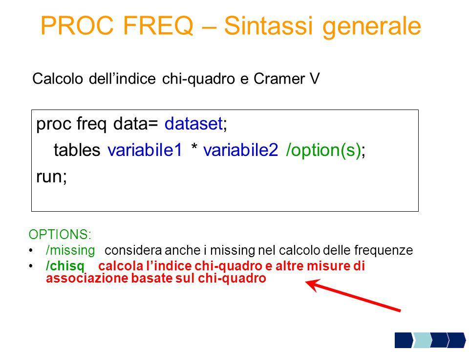PROC FREQ – Sintassi generale