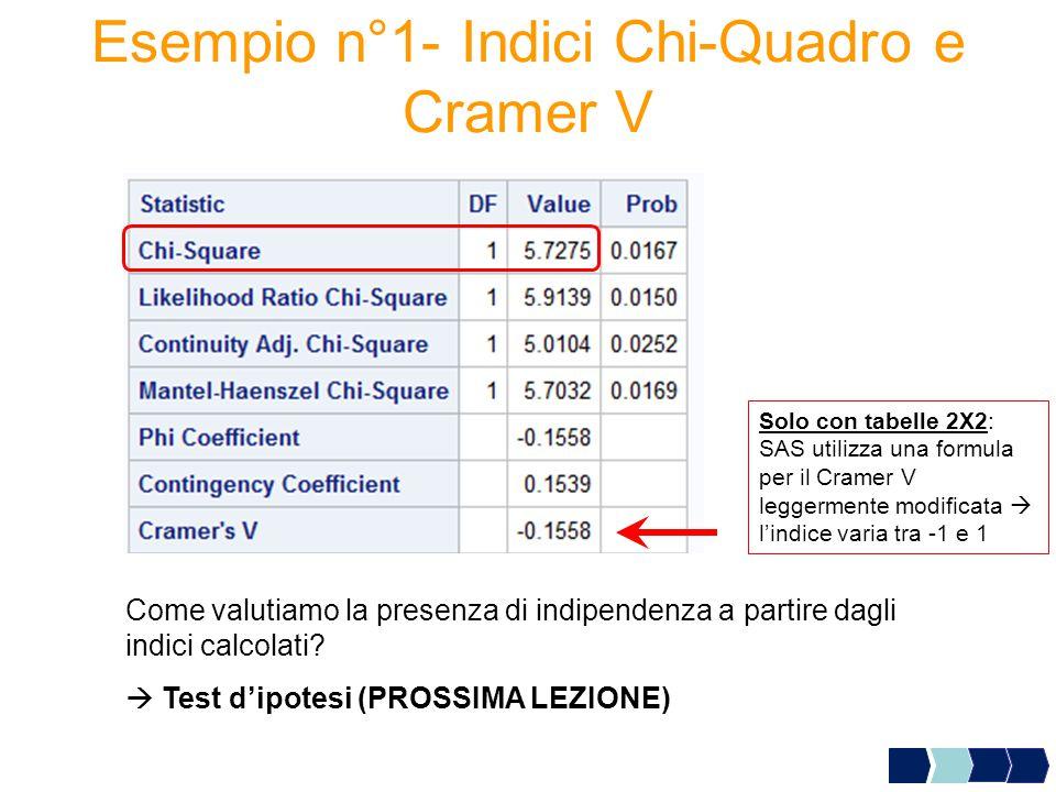 Esempio n°1- Indici Chi-Quadro e Cramer V