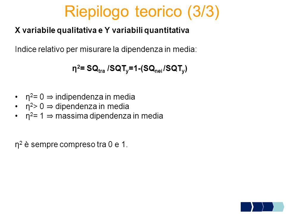 Riepilogo teorico (3/3) X variabile qualitativa e Y variabili quantitativa. Indice relativo per misurare la dipendenza in media: