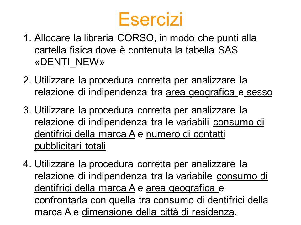 Esercizi Allocare la libreria CORSO, in modo che punti alla cartella fisica dove è contenuta la tabella SAS «DENTI_NEW»