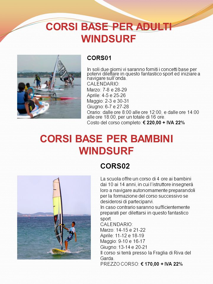 CORSI BASE PER ADULTI WINDSURF