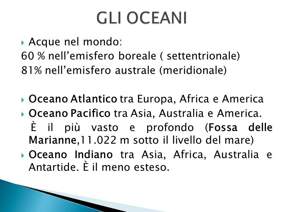 GLI OCEANI Acque nel mondo: