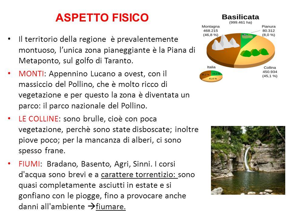 ASPETTO FISICO Il territorio della regione è prevalentemente montuoso, l'unica zona pianeggiante è la Piana di Metaponto, sul golfo di Taranto.