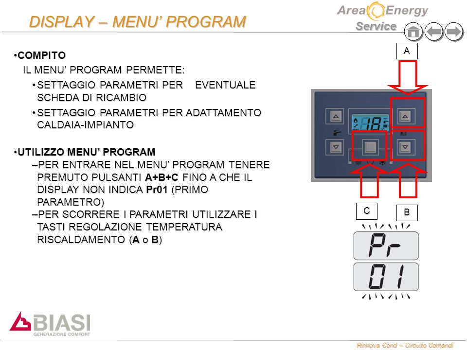 DISPLAY – MENU' PROGRAM