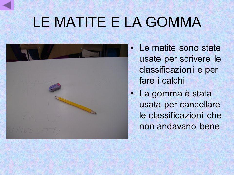 LE MATITE E LA GOMMA Le matite sono state usate per scrivere le classificazioni e per fare i calchi.
