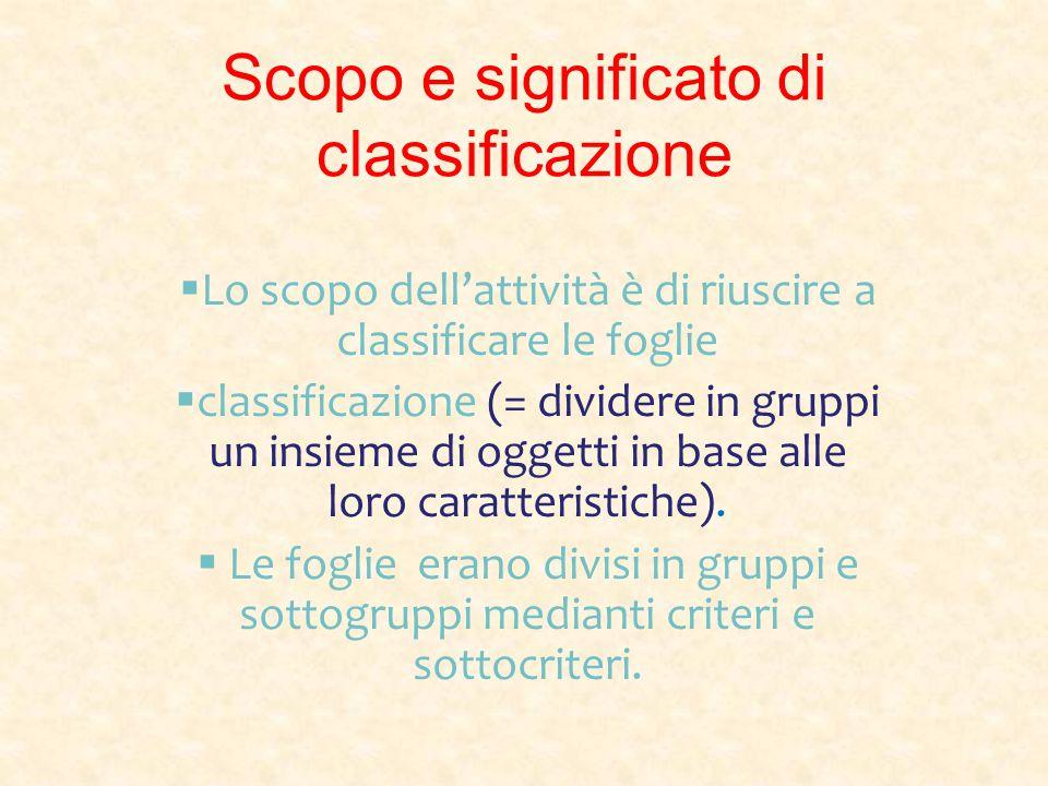 Scopo e significato di classificazione