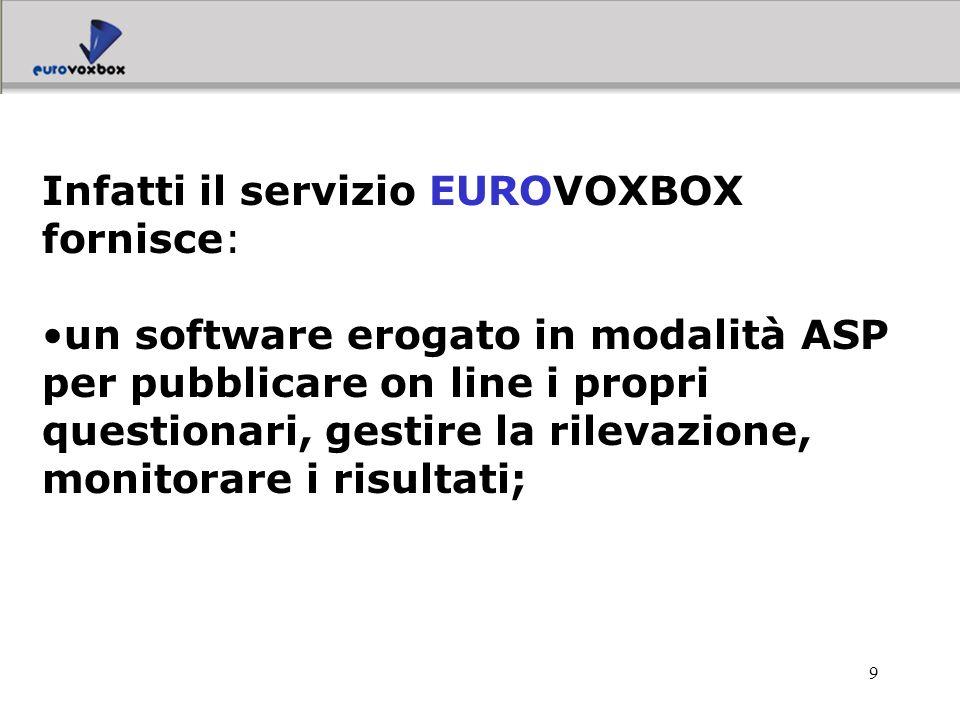 Infatti il servizio EUROVOXBOX fornisce: