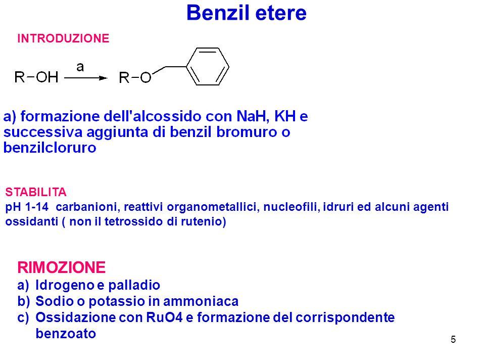 Benzil etere RIMOZIONE Idrogeno e palladio