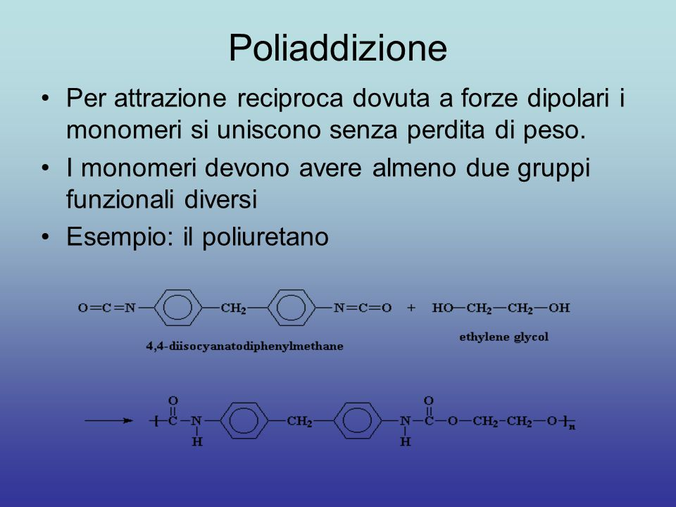 Poliaddizione Per attrazione reciproca dovuta a forze dipolari i monomeri si uniscono senza perdita di peso.