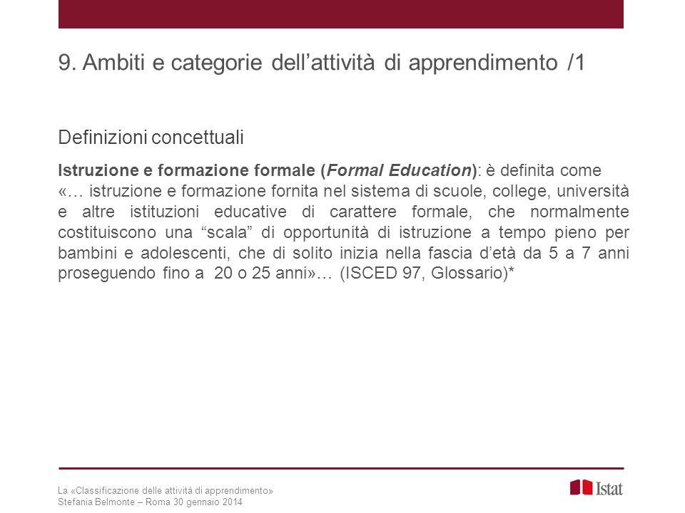 9. Ambiti e categorie dell'attività di apprendimento /1