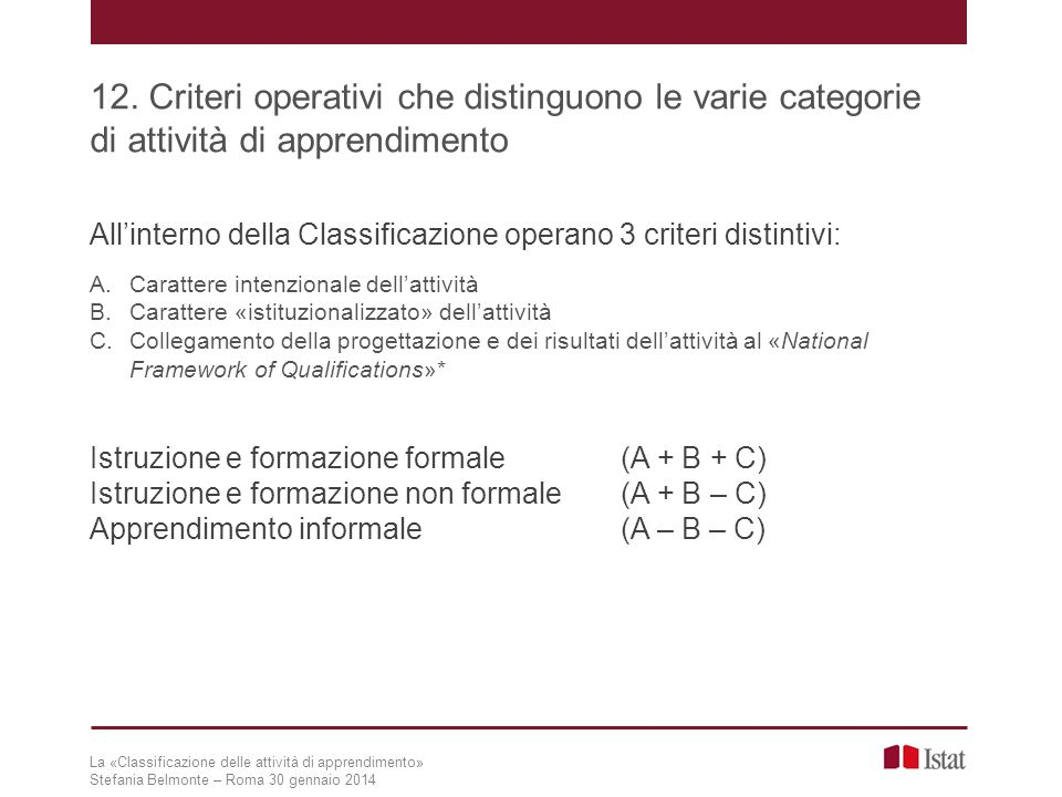 12. Criteri operativi che distinguono le varie categorie di attività di apprendimento