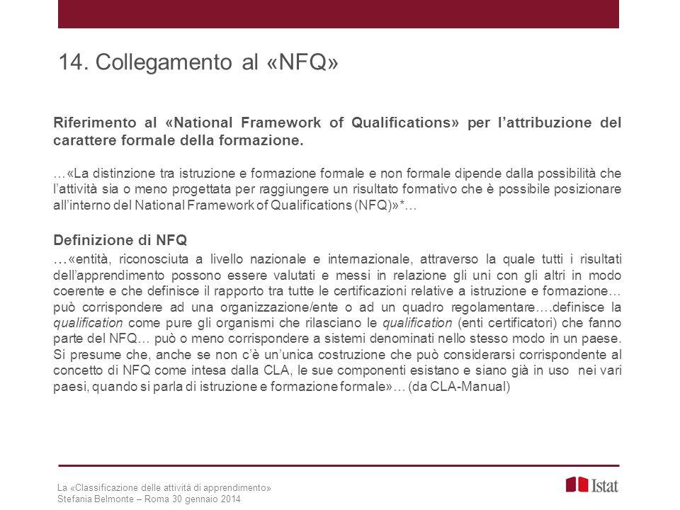 14. Collegamento al «NFQ» Riferimento al «National Framework of Qualifications» per l'attribuzione del carattere formale della formazione.