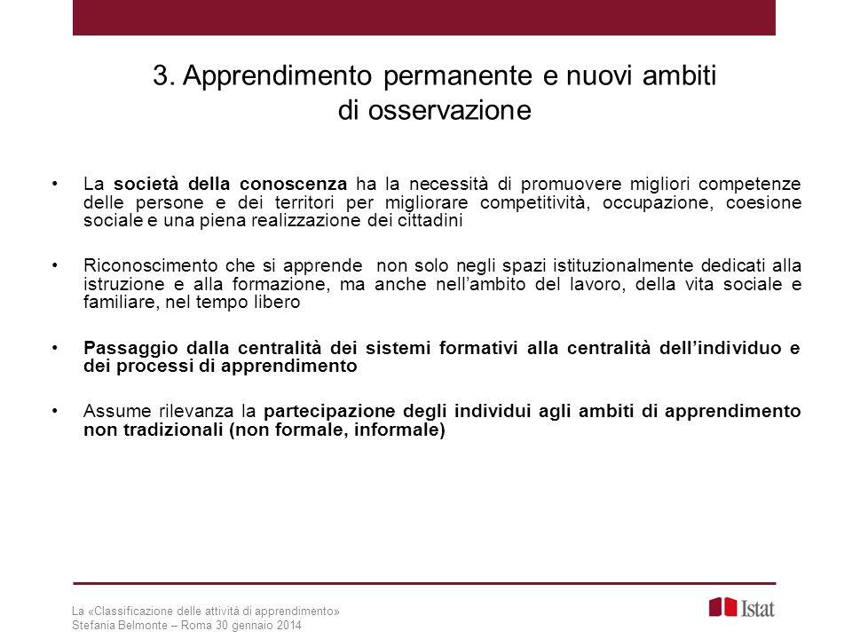 3. Apprendimento permanente e nuovi ambiti di osservazione