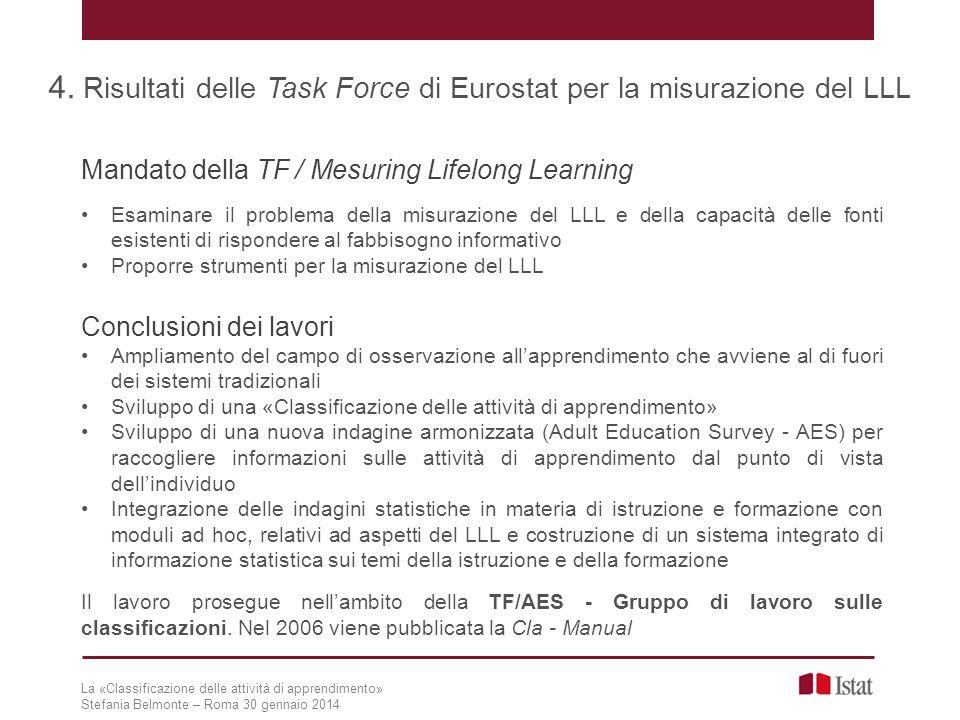 4. Risultati delle Task Force di Eurostat per la misurazione del LLL