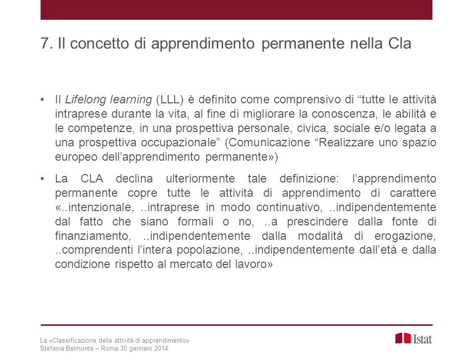 7. Il concetto di apprendimento permanente nella Cla