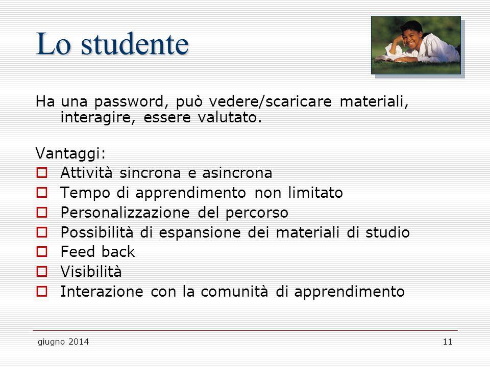 Lo studente Ha una password, può vedere/scaricare materiali, interagire, essere valutato. Vantaggi: