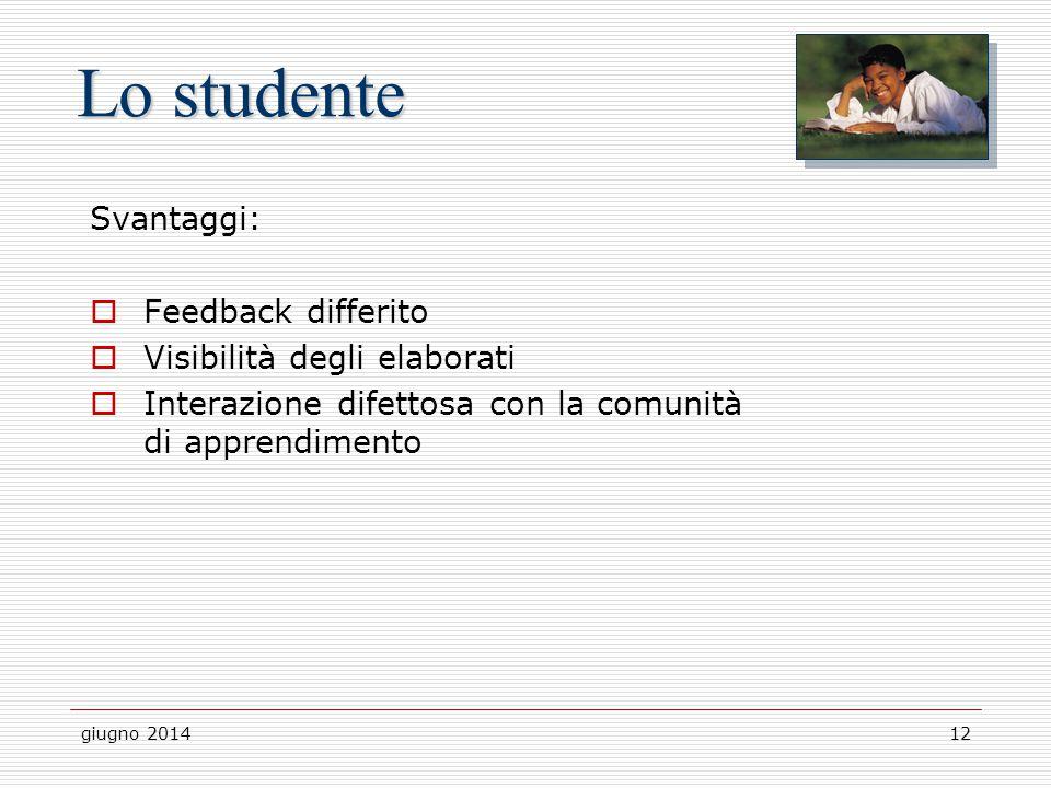 Lo studente Svantaggi: Feedback differito Visibilità degli elaborati