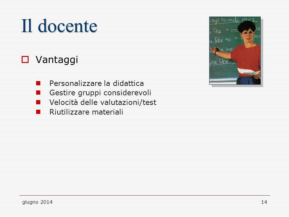 Il docente Vantaggi Personalizzare la didattica