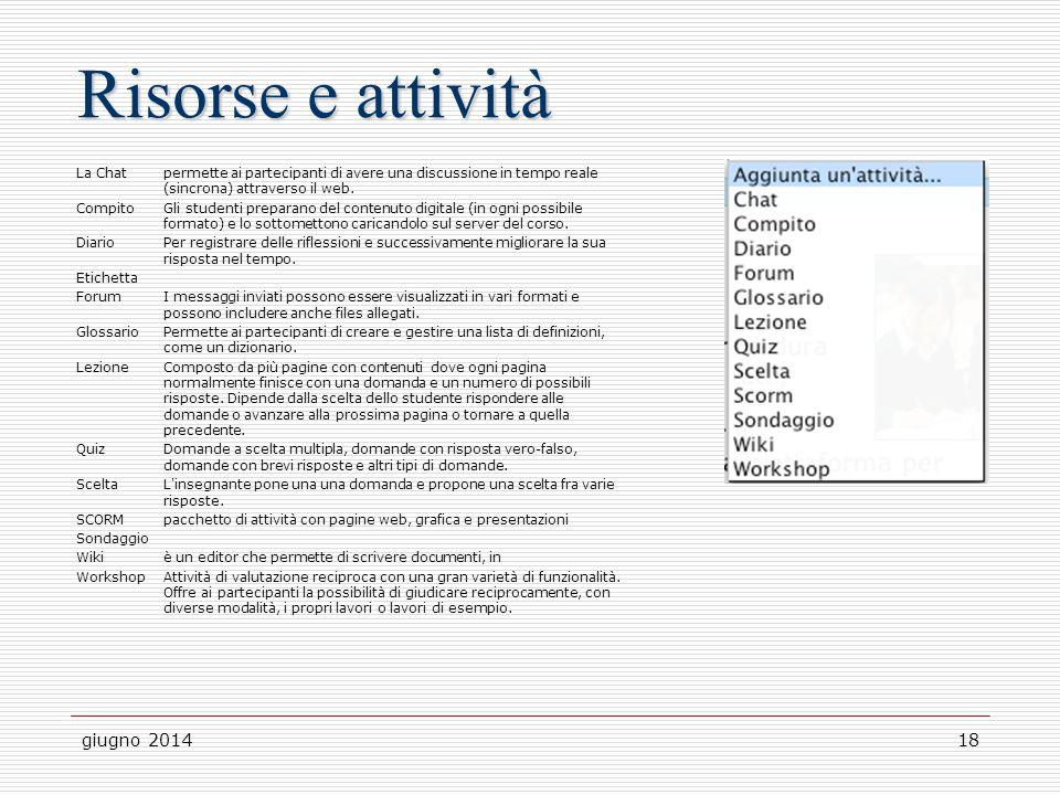 Risorse e attività giugno 2014